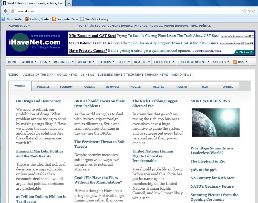 Imagen de la web a la que redirige Ihavenet
